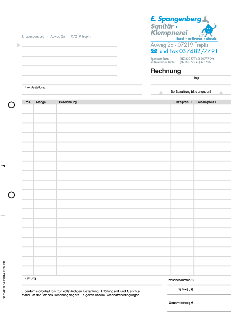 Formular Rechnung Muster