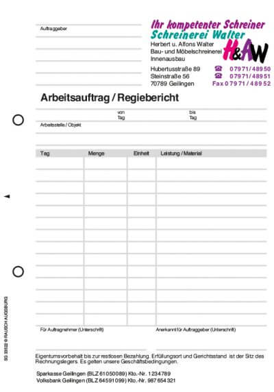 Formular Regiebericht Muster