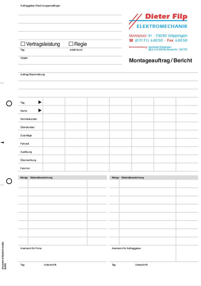 Stundenzettel Materialschein Formulare Mit Durchschlag Von Orgaset